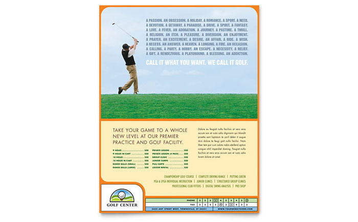 Golf instructor course flyer template word publisher for Free flyer templates publisher