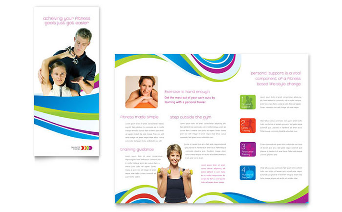 Personal trainer brochure template word publisher for Microsoft works templates brochure