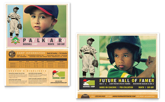 Baseball sports camp poster template word publisher for Baseball card template microsoft word
