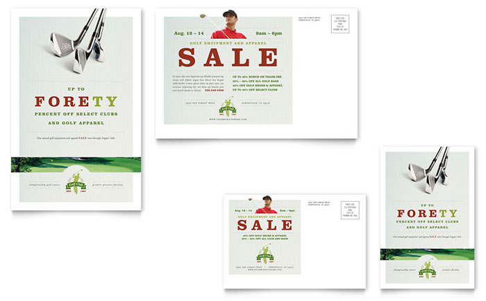 Golf Course & Instruction Postcard Template - Word & Publisher