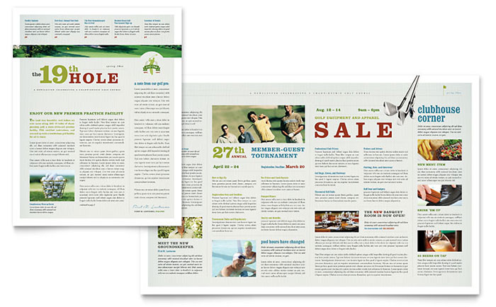 Golf Course & Instruction Newsletter Template - Word & Publisher