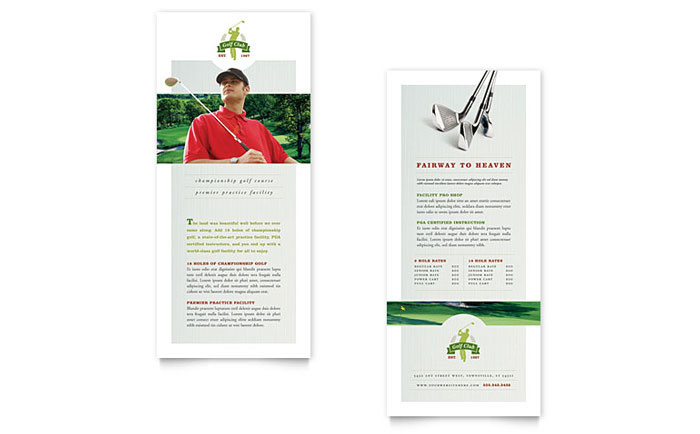 Golf Course & Instruction Rack Card Template - Word & Publisher