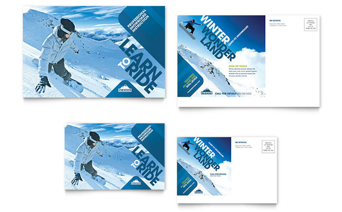 Ski & Snowboard Instructor Postcard Template - Word & Publisher