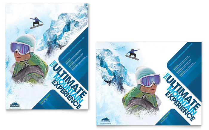 Ski & Snowboard Instructor Poster Template - Word & Publisher