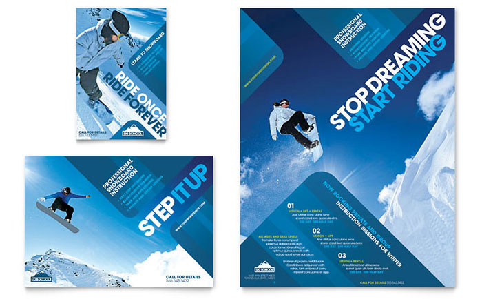 ski  u0026 snowboard instructor flyer  u0026 ad template