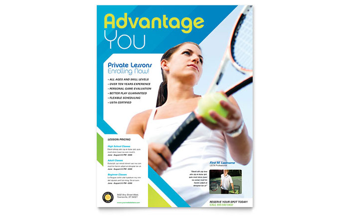 Tennis Club & Camp Flyer Template - Word & Publisher