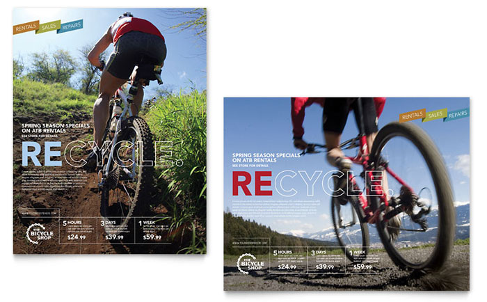 bike rentals  u0026 mountain biking poster template