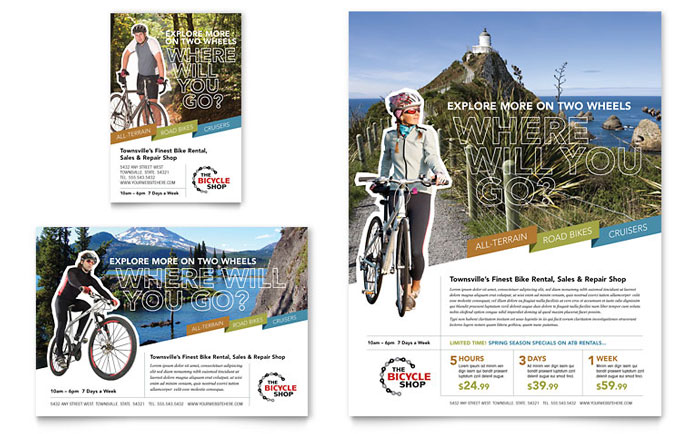 bike rentals  u0026 mountain biking flyer  u0026 ad template