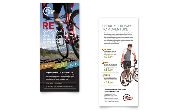bike rentals  u0026 mountain biking rack card template