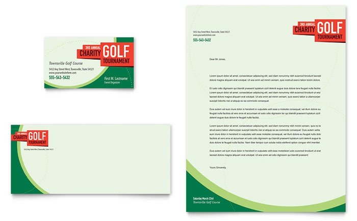 Golf Tournament Business Card & Letterhead Template - Word & Publisher