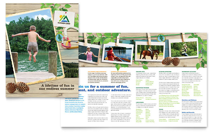 Kids summer camp brochure template word publisher for Free brochure templates for students