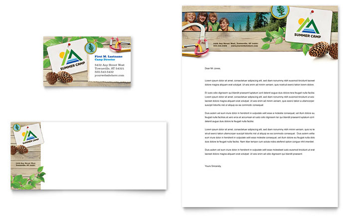 Kids Summer Camp Business Card & Letterhead Template - Word & Publisher