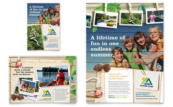 Kids Summer Camp Flyer & Ad Template - Word & Publisher