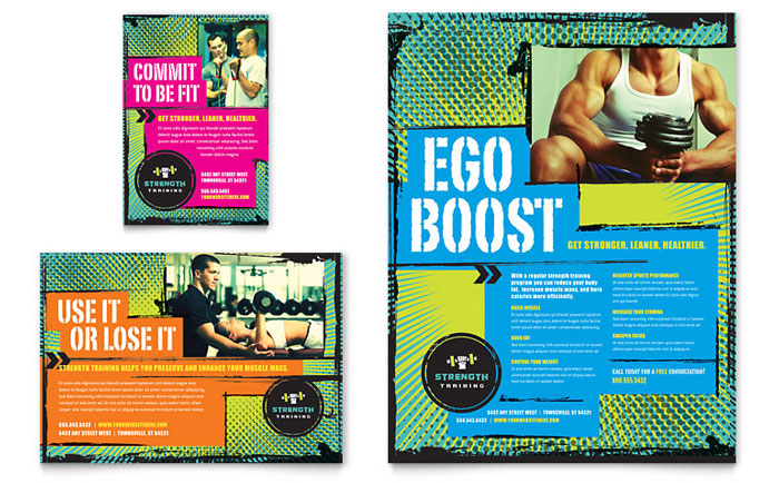 Strength training flyer ad template word publisher for Personal brochure templates