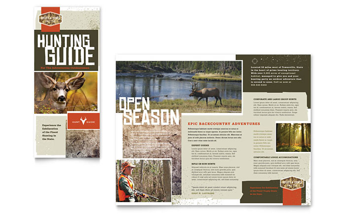 Hunting Guide Tri Fold Brochure Template - Word & Publisher