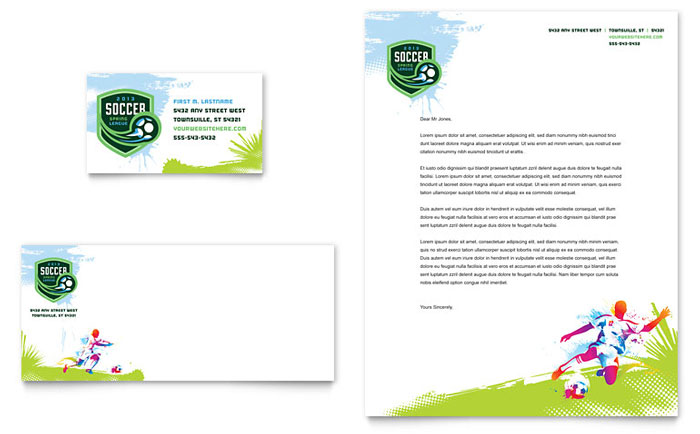 Youth Soccer Business Card & Letterhead - Word Template & Publisher Template