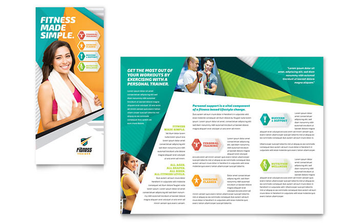 Fitness trainer brochure template word publisher for Microsoft templates brochures
