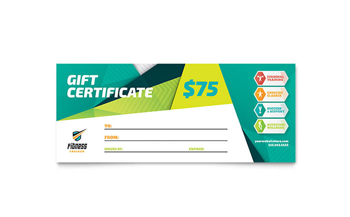Fitness Trainer Gift Certificate Template - Word & Publisher
