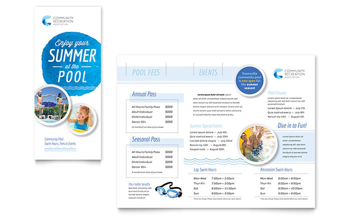 Community Swimming Pool Brochure Template Word Amp Publisher