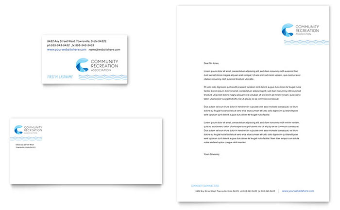 Community Swimming Pool Business Card & Letterhead Template - Word & Publisher