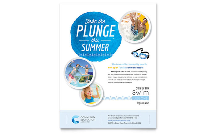 Community Swimming Pool Flyer Template - Word & Publisher