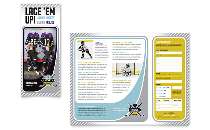 camp brochure template - junior hockey camp brochure template word publisher
