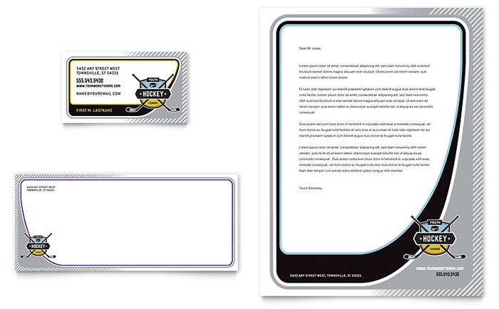 Junior Hockey Camp Business Card & Letterhead Template - Word & Publisher