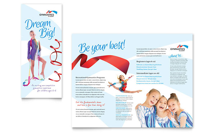 Gymnastics Academy Brochure Template - Word & Publisher