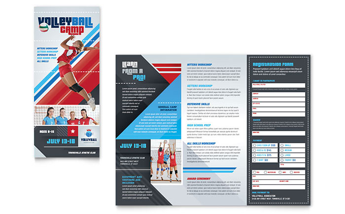 Volleyball camp brochure template word publisher for Microsoft works templates brochure