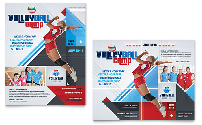 Volleyball Camp Poster Template - Word & Publisher