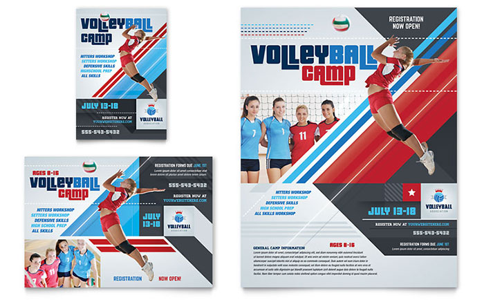Volleyball Camp Flyer & Ad Template - Word & Publisher