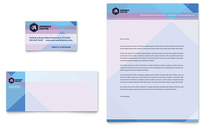 Aerobics Center Business Card & Letterhead Template - Word & Publisher