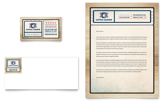 Baseball league business card letterhead template word for Baseball card template microsoft word