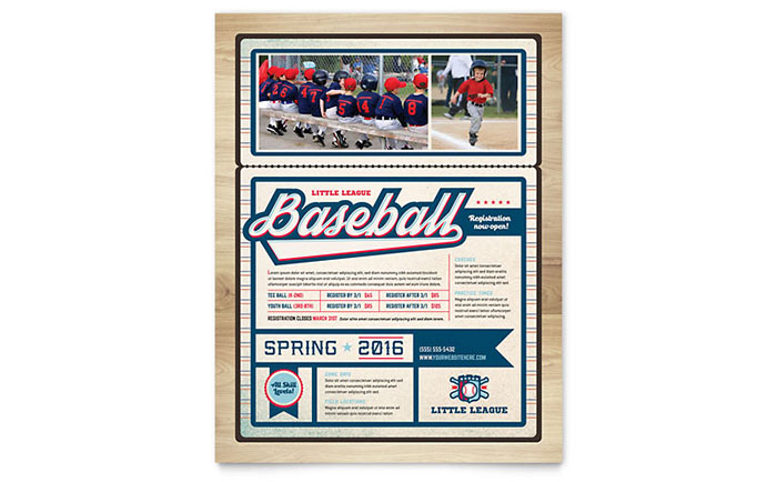 Baseball League Flyer Template - Word & Publisher