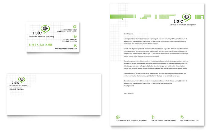 ISP Internet Service Business Card & Letterhead Template - Word & Publisher