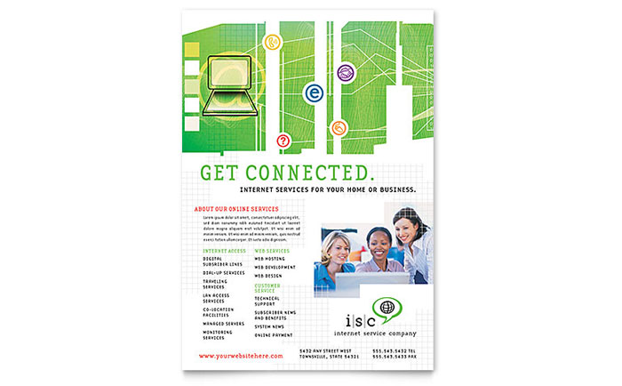 ISP Internet Service Flyer Template - Word & Publisher