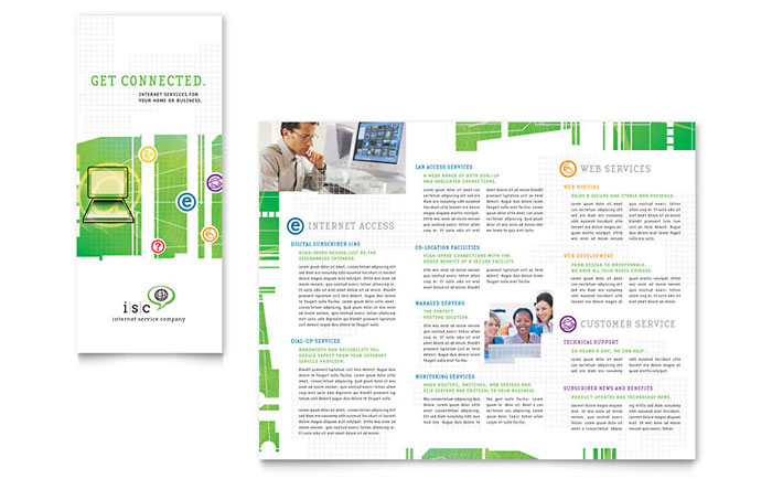 Isp internet service tri fold brochure template word for Word tri fold brochure template