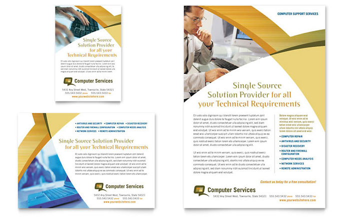 Computer Services Consulting Flyer Ad Template Word