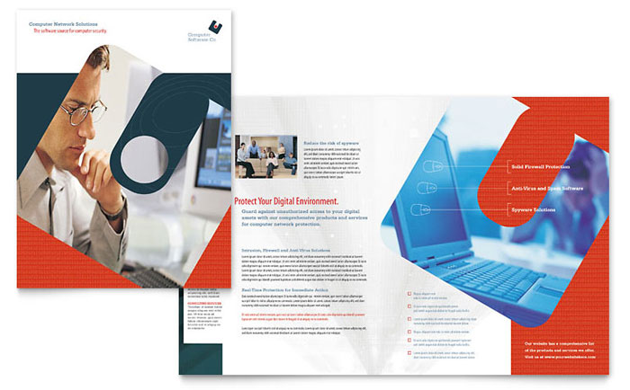 Computer software company brochure template word publisher for Company brochure design templates