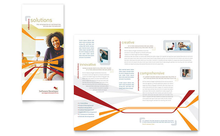 Software developer tri fold brochure template word for Microsoft tri fold brochure template