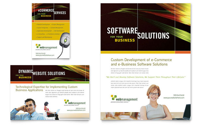 Internet software flyer ad template word publisher for Software for designing brochures