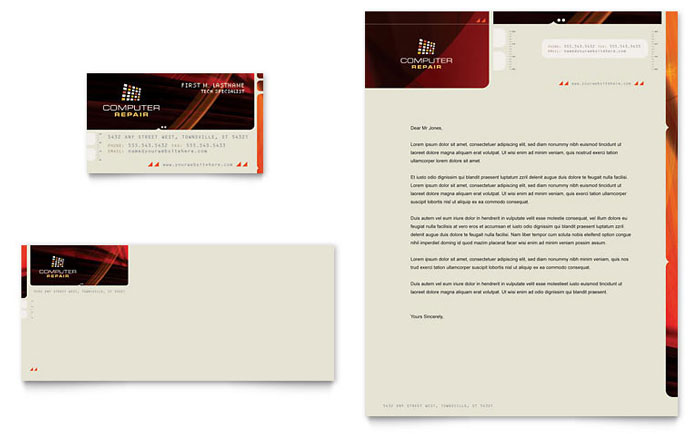 Computer Repair Business Card & Letterhead Template - Word & Publisher