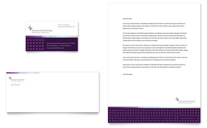 Information Technology Business Card & Letterhead Template - Word & Publisher