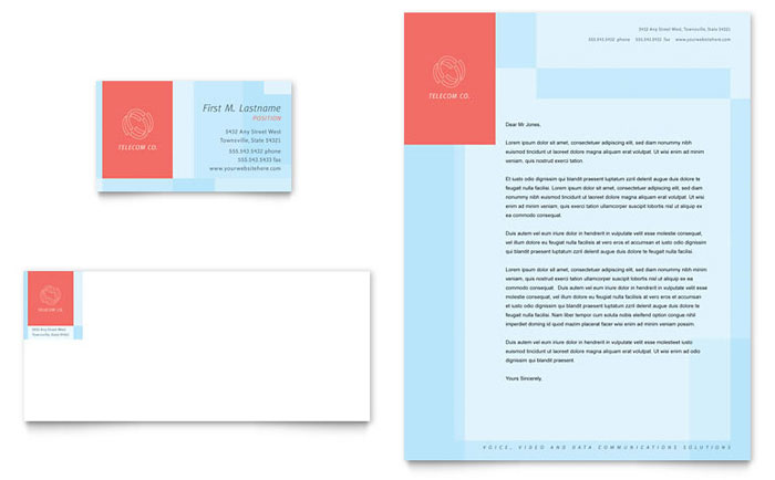 munications pany Business Card & Letterhead Template