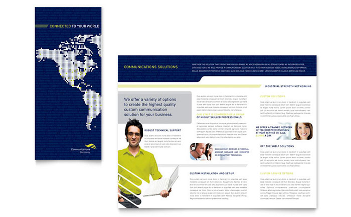 Global communications company brochure template word for Company brochure design templates