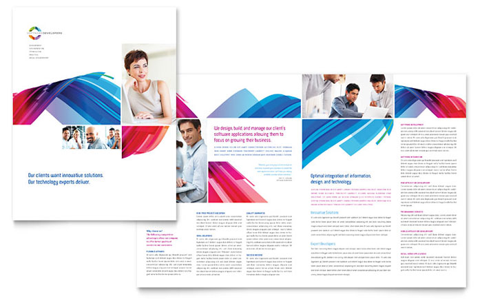 Software solutions brochure template word publisher for Pdf brochure design templates
