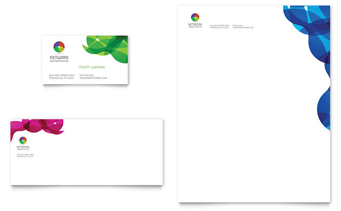 Network Administration Business Card & Letterhead Template - Word & Publisher