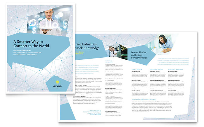 Global network services brochure template word publisher for 11x17 half fold brochure template