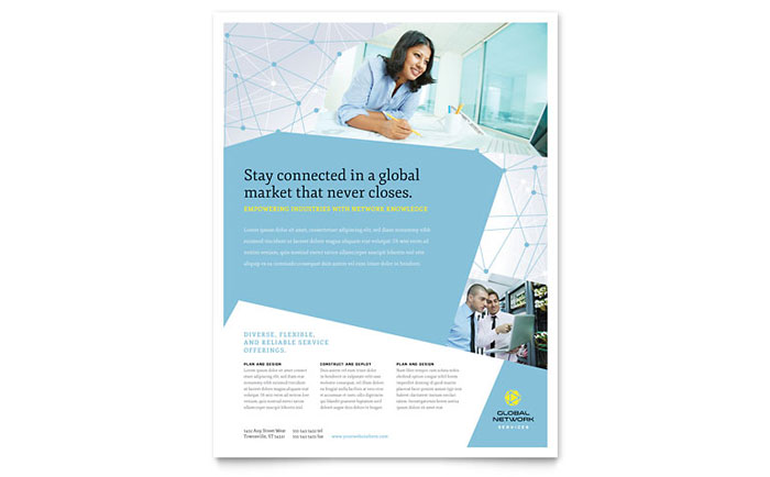 Global Network Services Flyer Template - Word & Publisher