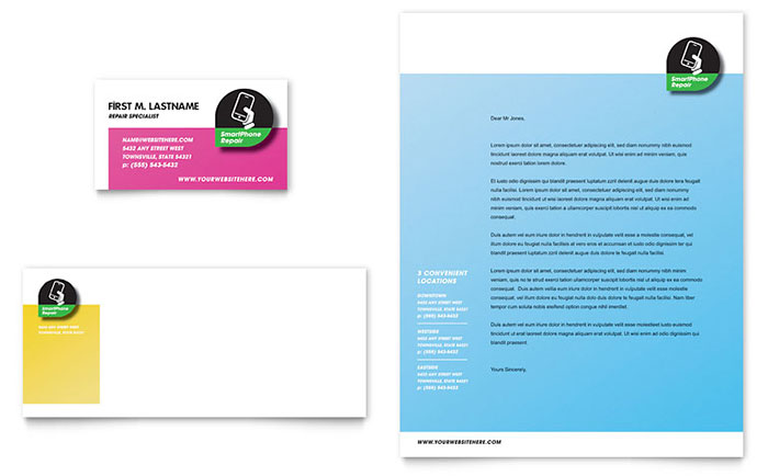 Smartphone Repair Business Card & Letterhead Template - Word & Publisher
